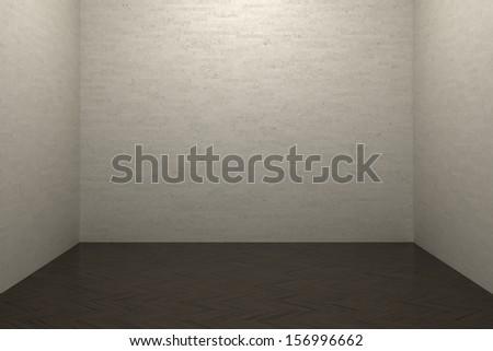 Brick wall and laminate floor - stock photo
