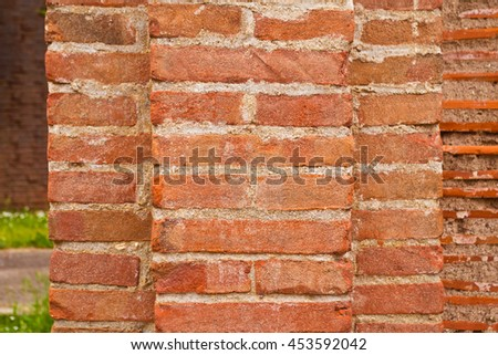 brick wall and mortar of a traditional style building, comfortable and durable - stock photo