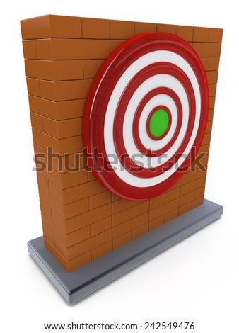 Brick wall and Red darts target aim  - stock photo