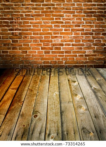 brick wall and wood floor - stock photo