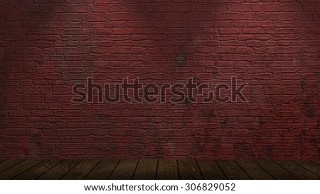 brick wall and wood floor with spotlights