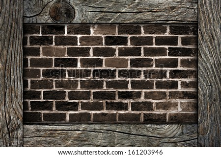 brick wall and wooden frame  - stock photo
