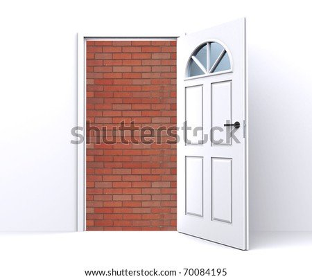 brick wall behind the open white door - stock photo