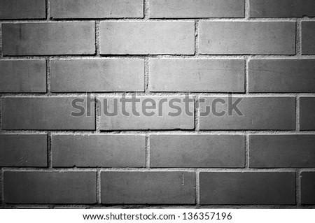 Brick wall, black and white version - stock photo