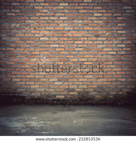 brick wall construction design of vintage background - stock photo