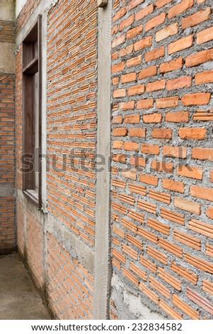 brick wall construction grunge texture background - stock photo