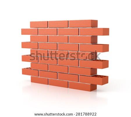brick wall 3d illustration. firewall - stock photo