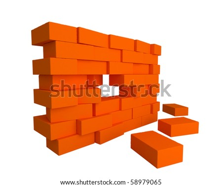 brick wall element about to fall - stock photo