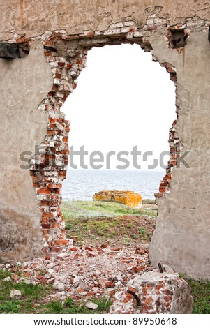 brick wall in the ruins - stock photo