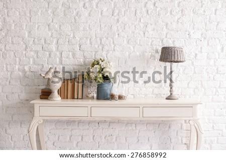 brick wall interior - stock photo