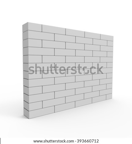 Brick Wall isolated on white background. High quality 3d render. - stock photo