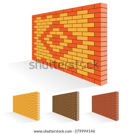 Brick wall of facing bricks. Illustration Set. - stock photo