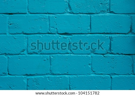 Brick wall painted blue - stock photo