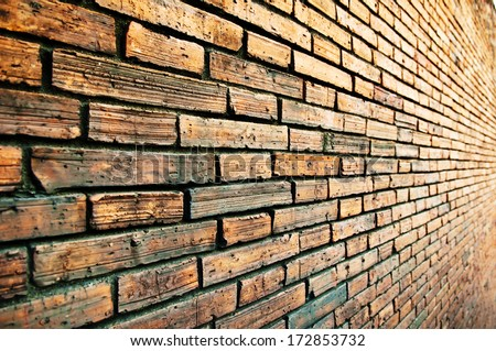 Brick Wall Perspective Background Stone Block Stock Photo