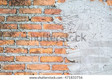brick wall texture antique cracked of cement the pattern and colors background, Old grungy vintage red walls texture background and Pattern