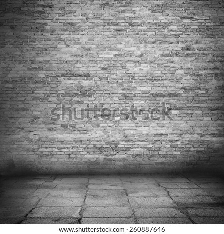 brick wall texture background black and white background with vignette illustration - stock photo