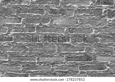brick wall texture black and white. - stock photo