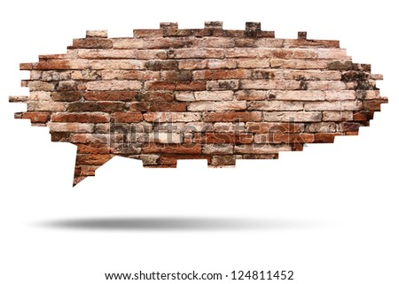 brick wall texture of speech bubble background, isolated on white (Save paths for design work) - stock photo
