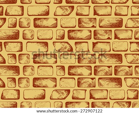 Brick wall texture. Seamless background. Raster version - stock photo