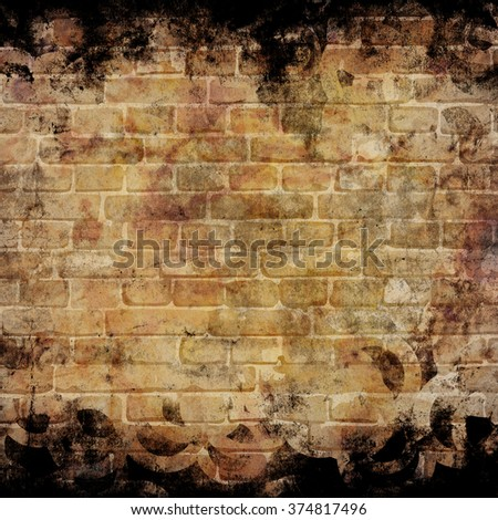 brick wall texture with grunge scratches and stains