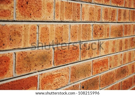 Brick wall with an angled view - stock photo