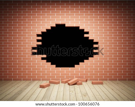 Brick wall with large hole in interior room - stock photo