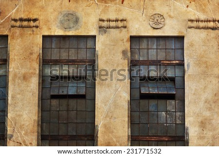 Brick Wall with Windows Warehouse Exterior - stock photo