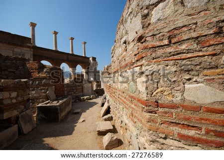 Brick Walls and Marble Columns in the Church of St John, Selcuk, Turkey