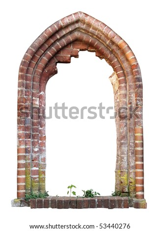Brick window as a grungy frame, isolated on white background - stock photo