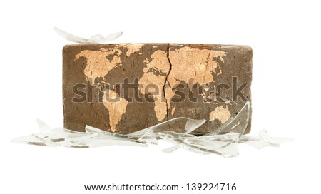 Brick with broken glass, violence concept, world map