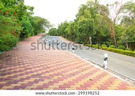 Brick worms road in a park
