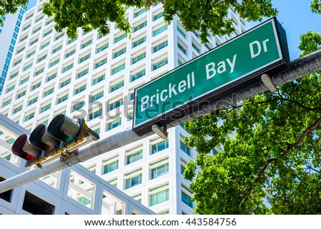 Brickell Bay Drive street sign in the popular downtown area of Miami.