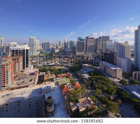 Brickell Birdseye view - stock photo