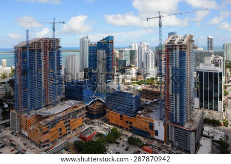 BRICKELL - JUNE 16: Aerial image of Brickell City Center a $1 billion dollar mixed use commercial project in the heart of Brickell Miami June 16, 2015 in Brickell FL - stock photo