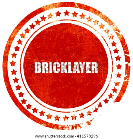 bricklayer, red grunge stamp on solid background - stock photo