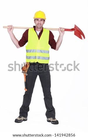 Bricklayer standing legs apart - stock photo