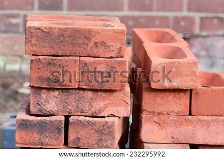 Bricklaying - pile of bricks - stock photo