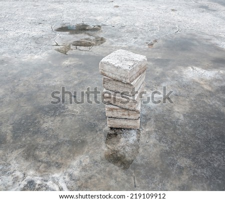 Bricks from natural salt for the construction of tourist hotels. Salar de Uyuni is largest salt flat in the World (UNESCO World Heritage Site) - Altiplano, Bolivia, South America - stock photo