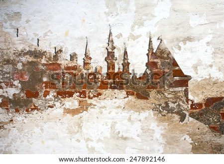 brickwall background Kazan Kremlin Kul Sharif mosque silhouette - stock photo