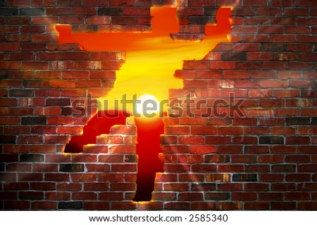 Brickwall that looks like someone ran though it exposing a sunset.