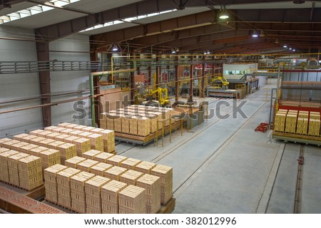 Brickyard. Production hall with special equipment - stock photo