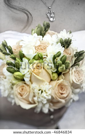 bridal bouquet, focus on the flowers,special photo f/x - stock photo