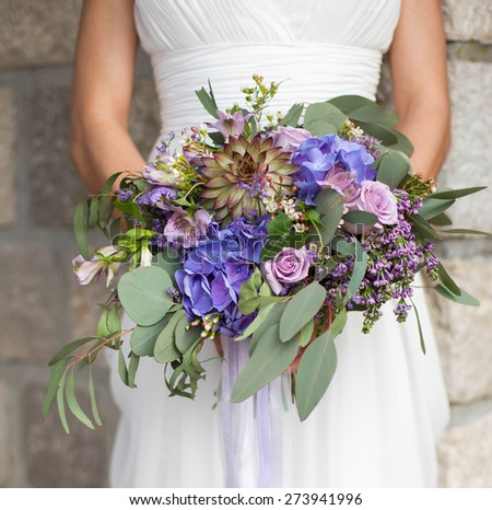 bridal bouquet in the style of Boho - stock photo
