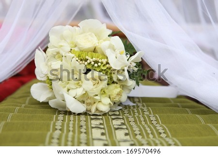 Bridal bouquet of orchids. - stock photo