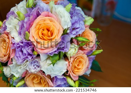 bridal bouquet of roses close up shallow depth of field - stock photo