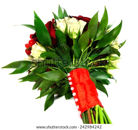 Bridal bouquet of white and red roses isolated on white