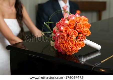 Bridal bouquet. Wedding image of bride and groom.