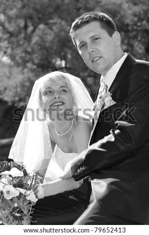 bridal couple in black and white - stock photo