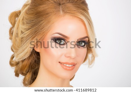 Bridal makeup and hairstyle, portrait shot - stock photo