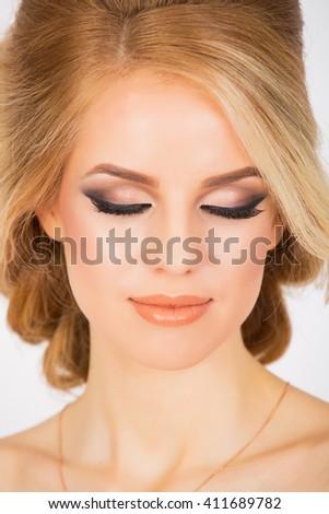 Bridal makeup for caucasian woman, close up shot  - stock photo